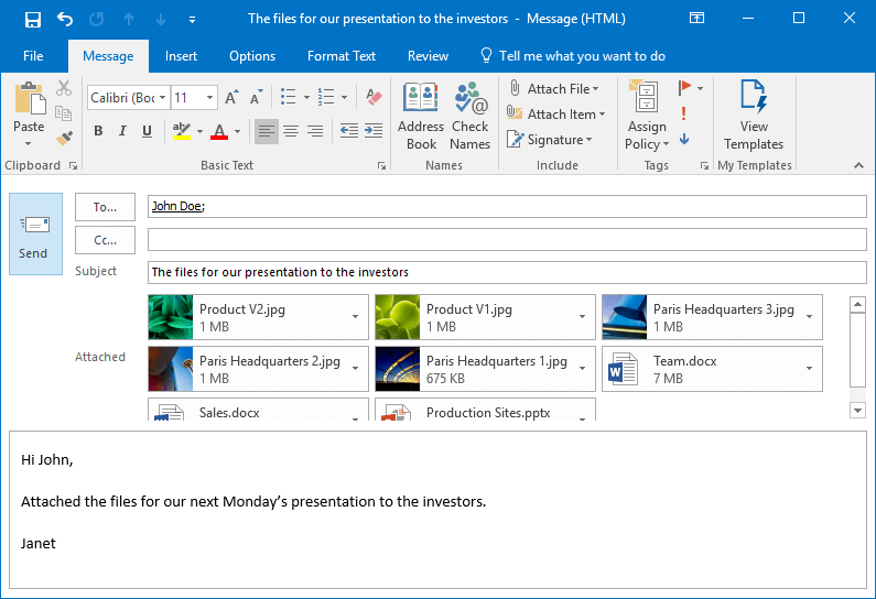 Attach to Cloud is automatically triggered when clicking the Send button of your MS Outlook email form