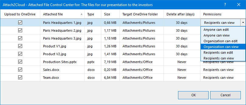 Attach to Cloud can delete the MS Outlook attached files you upload to OneDrive after a given number of days