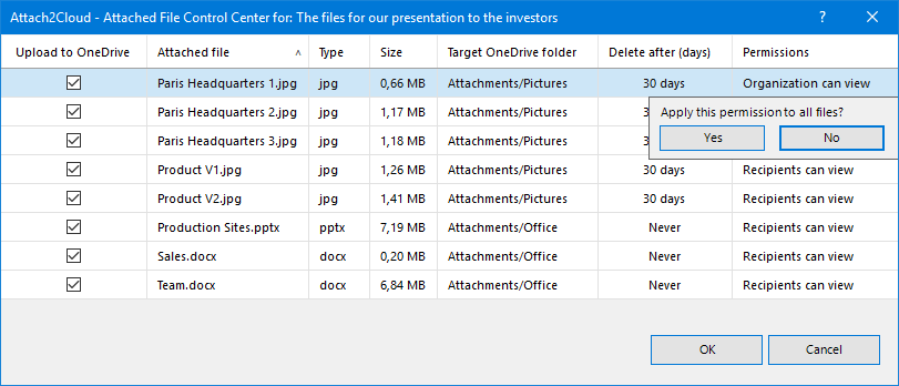 "Create a rule to have Attach to Cloud setting the ""Delete after"" value you just entered as the default value for the attached files of the same type"