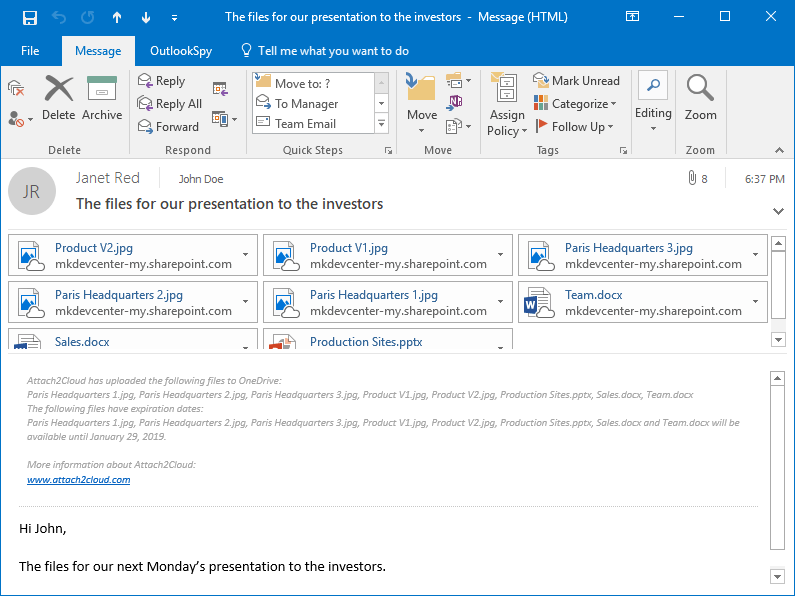 Attach to Cloud has replaced the files you originally attached to your MS Outlook email by OneDrive shortcuts