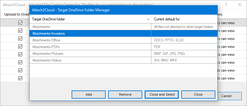 The Attach to Cloud Target OneDrive Folder Manager enables to manage your preferred OneDrive target folders (MS Outlook attached file upload destinations)