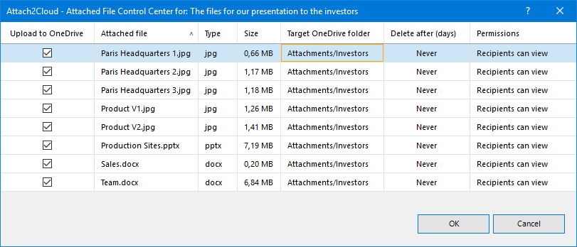 Your attached JPG files are now set to be uploaded to the Attachments/Picture OneDrive folder