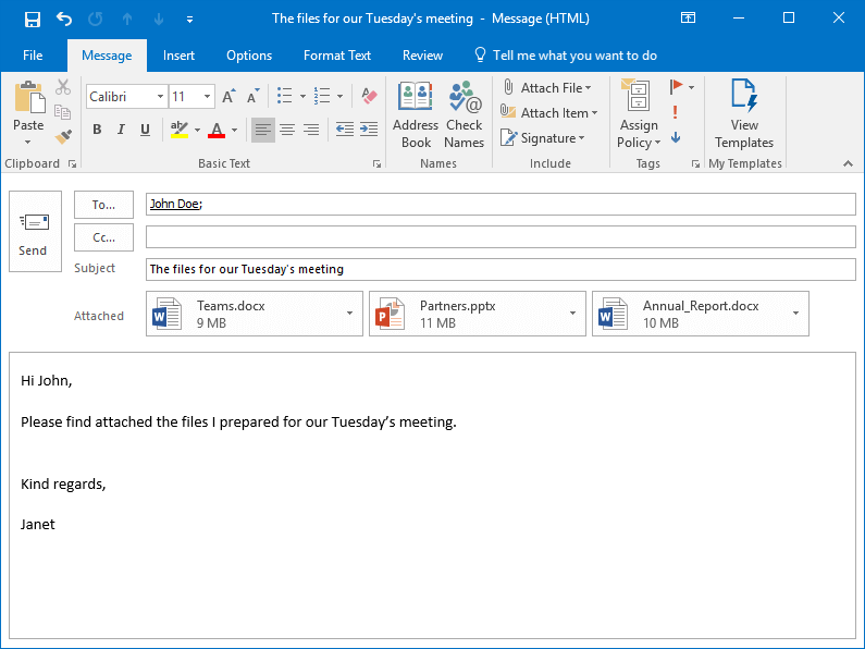 MS Outlook email with attached files ready to be sent