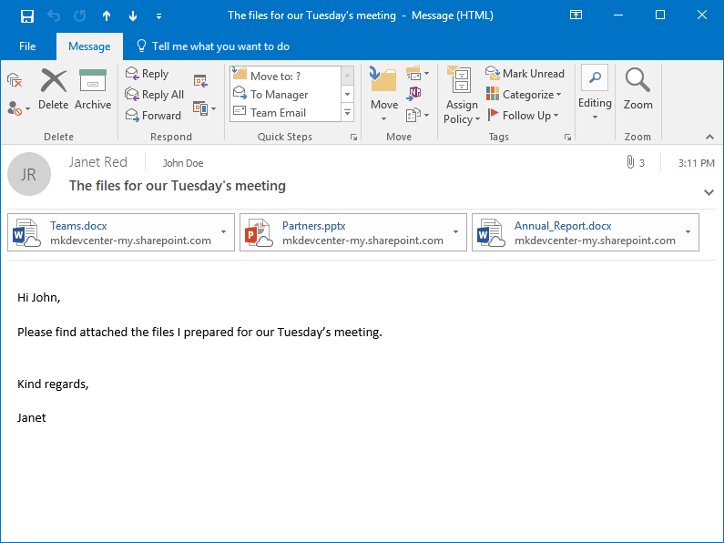 The sent MS Outlook email with attached OneDrive shortcuts created by Attach to Cloud in the Janet's Sent Items folder