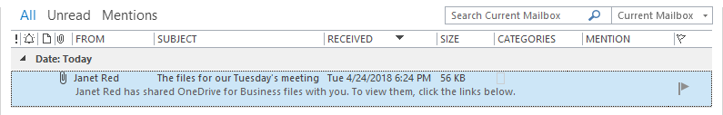 The received Outlook email with attached files replaced by OneDrive shortcuts by Attach to Cloud is arrived in the John's inbox