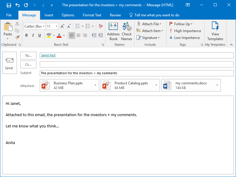The MS Outlook email with attached files is ready to be sent