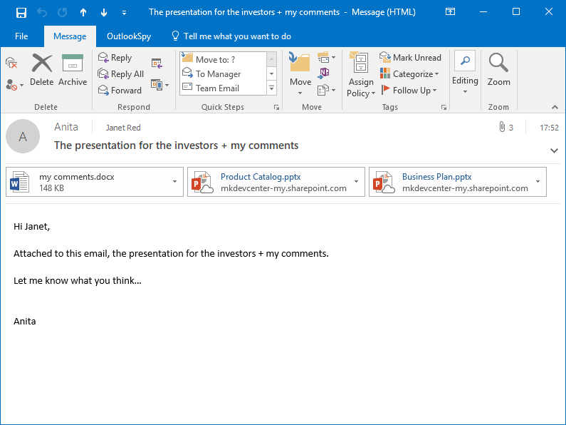 The received MS Outlook email with attached OneDrive shortcuts created by Attach to Cloud in place of the large files attached by Anita