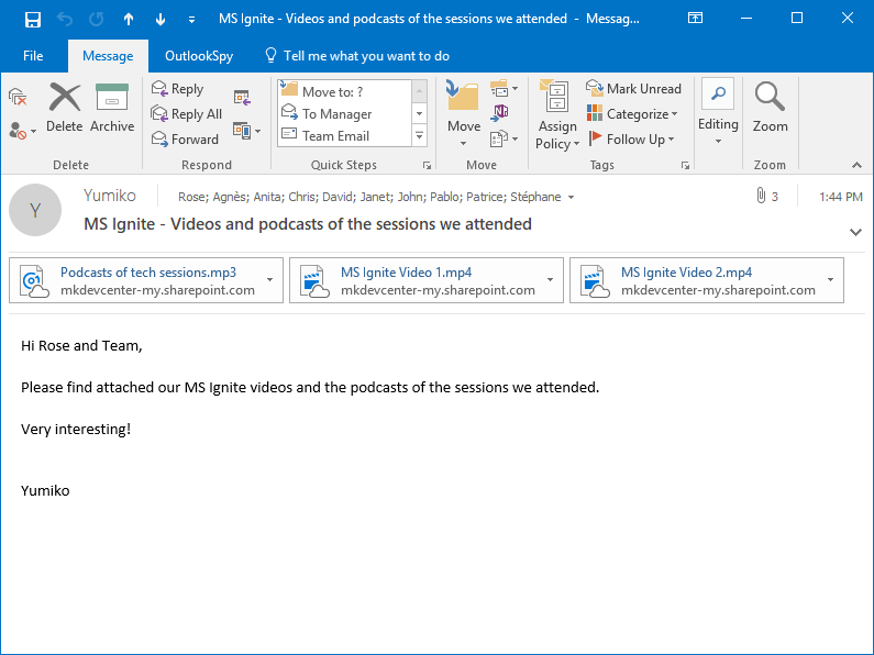 The received MS Outlook email with attached OneDrive shortcuts to video and audio files created by Attach to Cloud in place of the large files attached by Anita